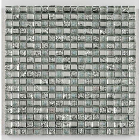 Mosaique salle de bain argent Glasmosaik silver ice 1.5x1.5 cm - 30x30 - unité