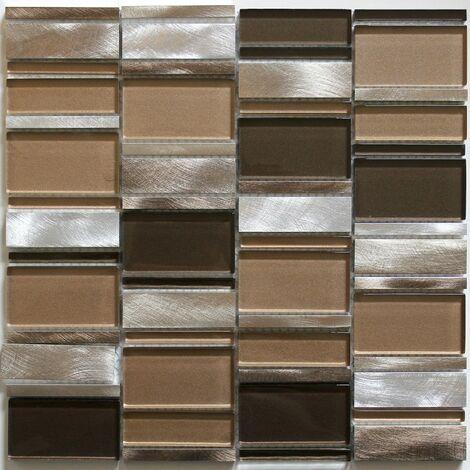 mosaique salle de bain et douche en aluminium et verre Albi Marron