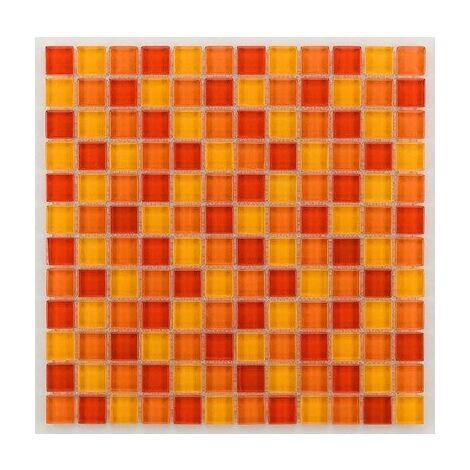 Mosaique salle de bain Glasmosaik orange 2.3x2.3 cm - 30x30 - unité