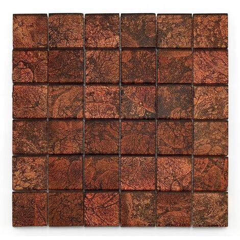 Mosaique salle de bain Glasmosaik rouge 4.8x4.8 cm - 30x30 - unité