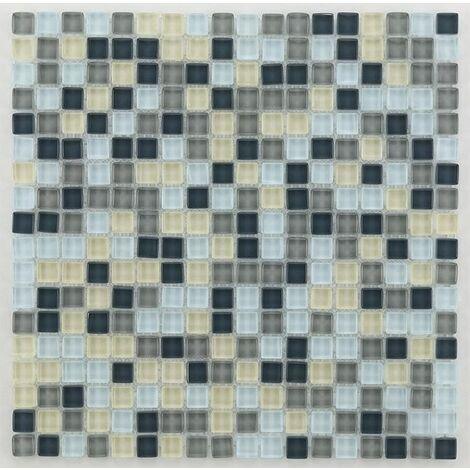 Mosaique salle de bain grise Glasmosaik silver grey mix 1.5x1.5 cm - 30x30 - unité