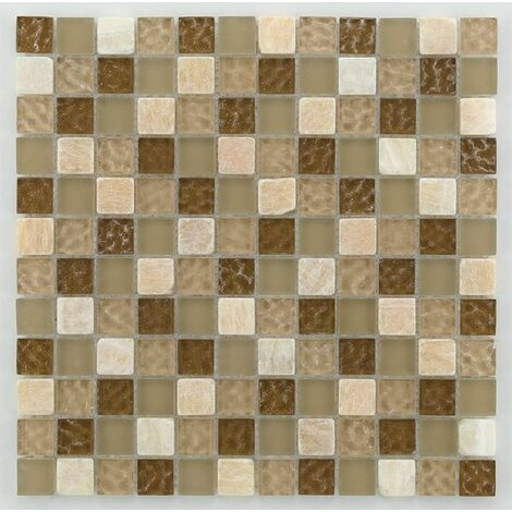 Mosaique salle de bain marron Glasmosaik tuscany natural 2.3x2.3 cm - 30x30 - unité