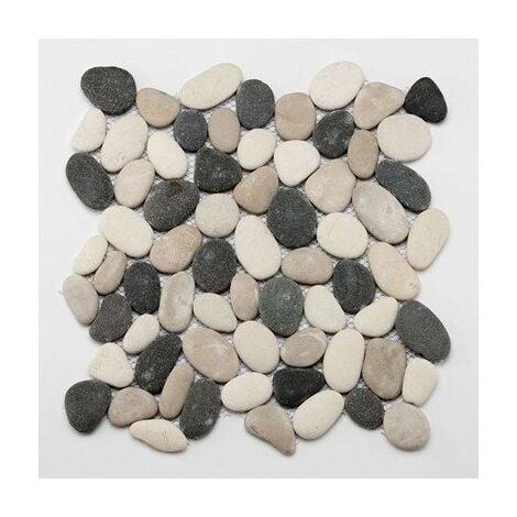 Mosaique sol et mur galet blanc noir et rosé 30x30 cm PM-0006 - unité