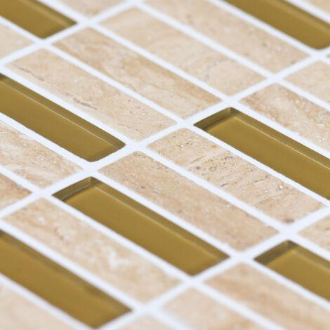 Mosaïque Travertin et Verre Glass Color Lamelles - vendu par carton de 0.54 m² - Beige, Or
