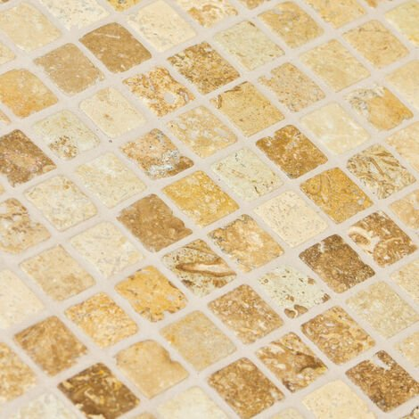 mosaïque travertin golden walnut - tarif à la plaque de 0,09m² - 188070