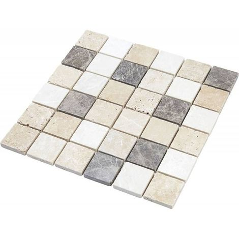 Mosaïque Travertin - Mix Gris - 4.8 x 4.8 cm