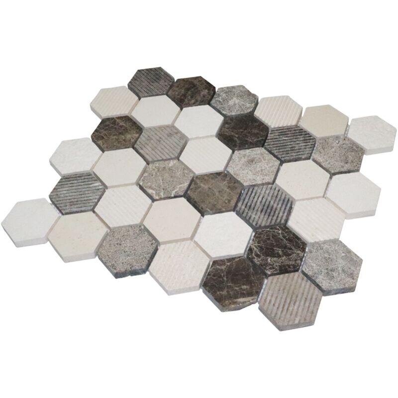 Mosaïque Carreau Céramique Hexagon travertin beige mat Carreaux Miroir cuisine 11g-1202