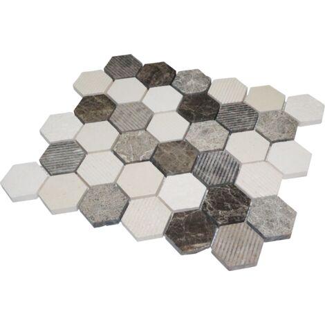 Mosaïque Travertin - Mix Gris - Hexagones - Gris