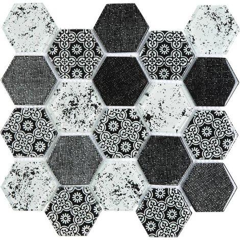 Mosaïque Verre - Mix Gris Déco - Hexagones - Noir