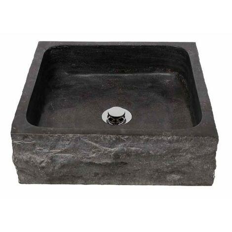 MOSAVIT JOKUL Lavabo Sobre Encimera De Piedra Cuadrado Negro