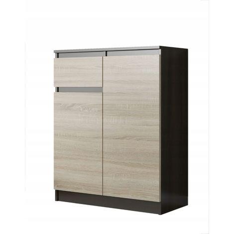 MOSCOW | Buffet moderne salle à manger 98x80x40 cm | Commode contemporaine chambre salon bureau | Meuble de rangement - Wenge/Sonoma