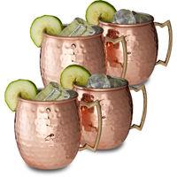 Moscow Mule Becher 4er Set, für Cocktails, Kaltgetränke, Barzubehör, Edelstahltasse, bauchig, 0,5 l, Kupfer