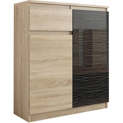 MOSCOW S1 | Buffet moderne salle à manger 98x80x40 cm | Commode contemporaine chambre salon bureau | Meuble de rangement - Sonoma/Noir