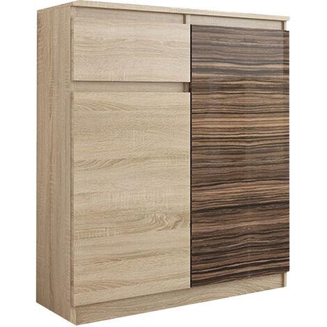 MOSCOW S1 | Buffet moderne salle à manger 98x80x40 cm | Commode contemporaine chambre salon bureau | Meuble de rangement - Sonoma/Zebrano