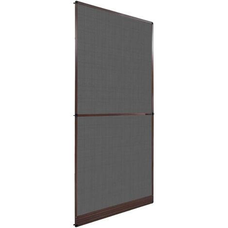 Mosquitera con bisagras para puertas marron 100x215 cm