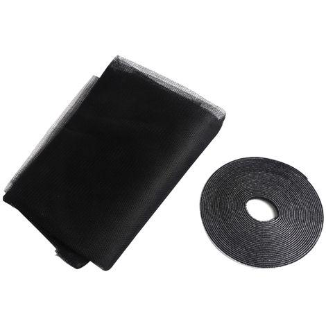 Mosquitera de verano anti mosquitos, con adhesivo de nylon magico, Negro,3PCS