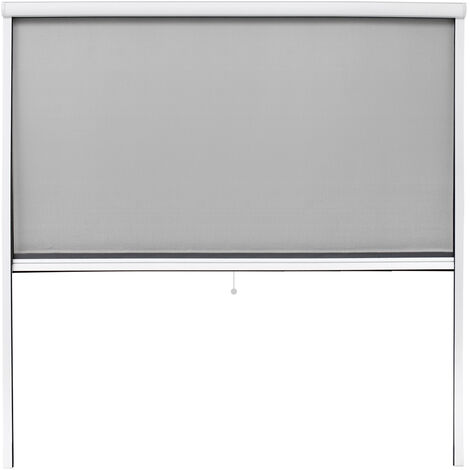 Mosquitera enrollable 160 x 160 cm blanco marco de aluminio anti-mosquitos