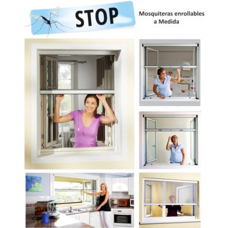 Mosquitera Enrollable A Medida / Mosquiteras para Ventanas y puertas. Con malla anti insectos de Fibra de Vidrio Medida ANCHO X ALTO.