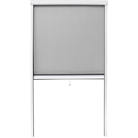 Mosquitera enrollable para puerta y ventana 90 x 160 cm blanco marco de aluminio