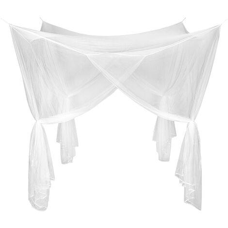 Mosquitera habitación para camas individuales y dobles - mosquitero, cortina mosquitera, tela mosquitera - blanco
