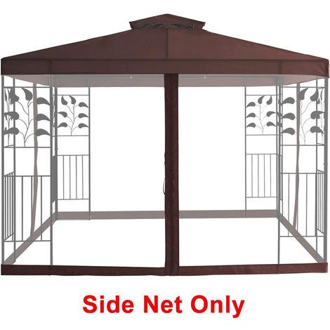 Mosquito Side Net with Zipper Fly Screen For Outdoor Garden Patio 3x3m Metal Gazebo - Coffee