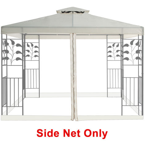 Mosquito Side Net with Zipper Fly Screen For Outdoor Garden Patio 3x3m Metal Gazebo - Ivory