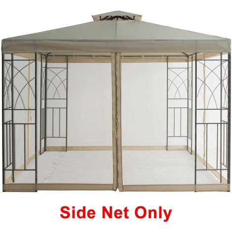 Mosquito Side Net with Zipper Fly Screen For Outdoor Garden Patio 3x3m Metal Gazebo - Sand