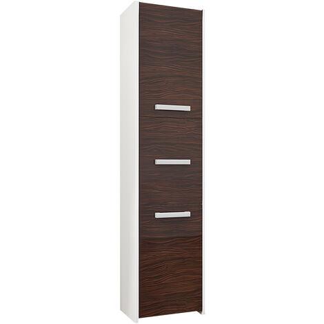 MOSTAR W1 | Meuble Colonne de salle de bain 30x30x170 | Rangement salle de bain contemporain | Armoire Toilette | Colonne rangement | Blanc/Eben - Blanc/Eben