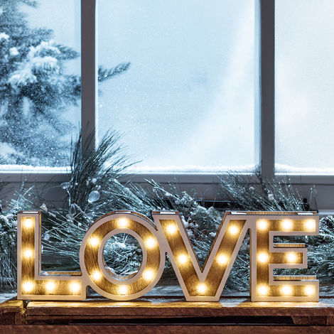 Mot Décoratif « LOVE » Lumineux LED en Bois à Piles Lights4fun