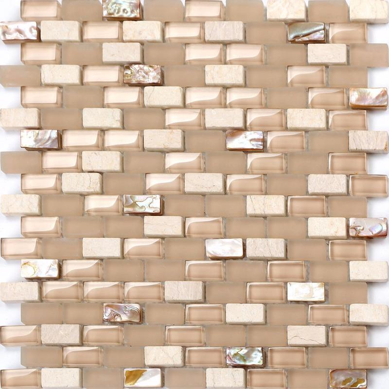 Image of Mother of Pearl, Stone & Glass Mosaic Wall Tile SQM (MT0147)