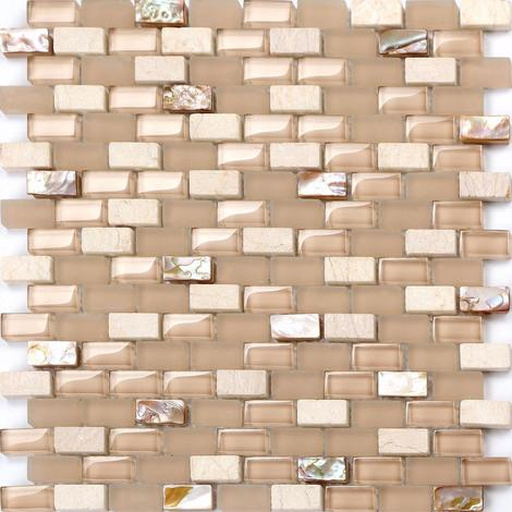 Mother of Pearl, Stone & Glass Mosaic Wall Tile Sheet MT0147
