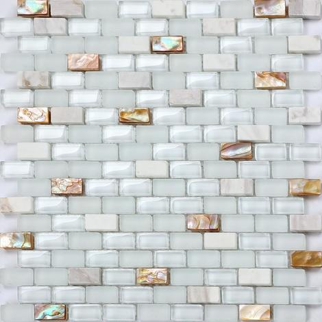 Mother of Pearl , Stone & Glass Mosaic Wall Tile Sheet MT0148