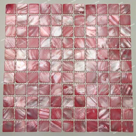 Mother of pearl tiles and shell mosaic Nacarat Rouge