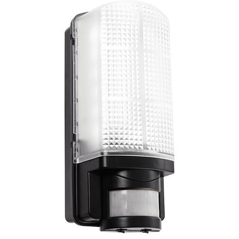 Motion LED PIR 1Lt Wall Light IP44 60W - Frosted Gloss Black Polycarbonate
