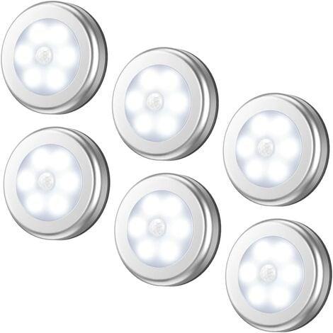 "main image of ""Motion Sensor Light, Cordless Battery-Powered LED Night Light, Stick-anywhere Closet Lights Stair Lights, Puck Lights, Safe Lights for Hallway, Bathroom, Bedroom, Kitchen (White - Pack of 6)"""