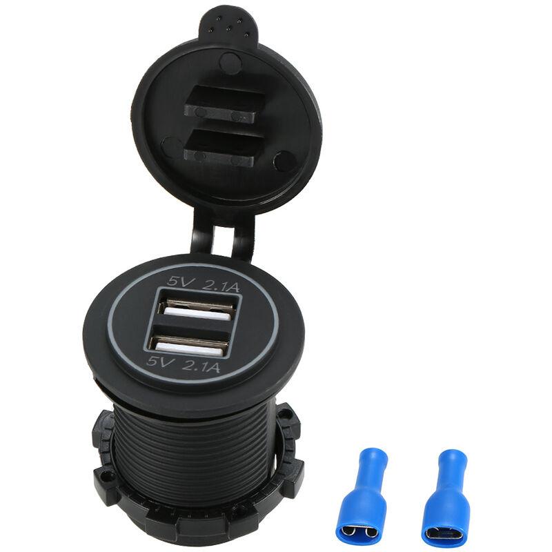 Happyshopping - Moto et RV double chargeur de telephone portable de voiture USB retroeclairage bleu Modele: CS-526A1