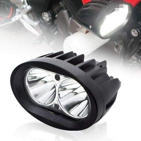 Moto Feux Additionnels LED,20W Ronde LED Phares Avant Moto Anti Brouillard 12V 24V Projecteur Spot LED Moto 1800LM Phares supplémentaires pour moto Truck Off Road Lights 4X4 ATV Quad Scooter