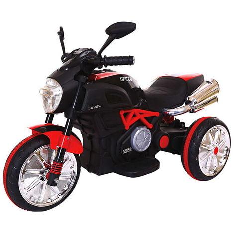 Moto Motocicletta elettrica per bambini 6V 3 ruote retromarcia luci suoni rossa
