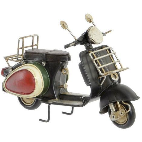 Moto Vintage, Figura Vehiculo Decorativo de Metal, 3 Modelos a elegir. Diseño Antiguo/Realista 17,3X7X11,5 cm Negro