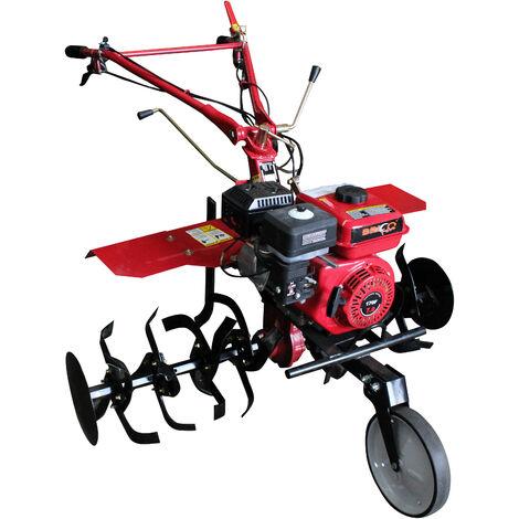 """Motoazada con transmisión engranajes, motor 7hp, ruedas 5.00X10"""", cuchillas y asurcador incluso."""