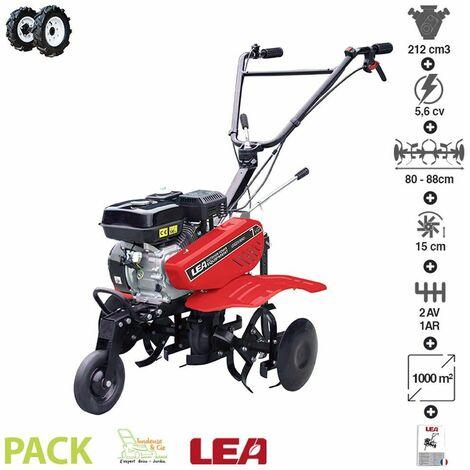 Motobeche thermique 212cc 5,6cv 2 vitesses AV 1 AR travail jusqu'à 88cm roues agraires LEA LE42212-80W21 - Rouge