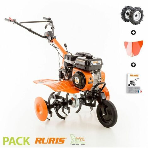 Motobineuse thermique 208cc 6 fraises vitesses 2AV -1AR roues agraires et butteur Ruris DAC 7000