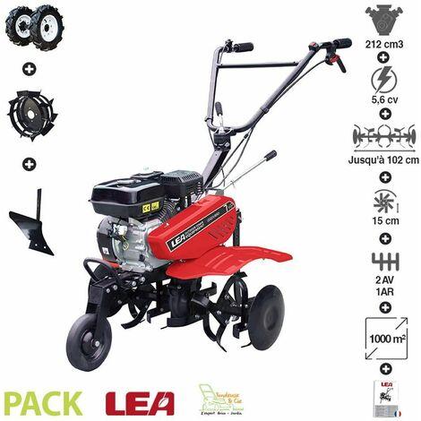 Motobineuse thermique 212cc 5,6cv accessoires roues pneus charrue 2 vitesses AV 1 AR travail 88cm LEA LE42212-80W21 - Rouge