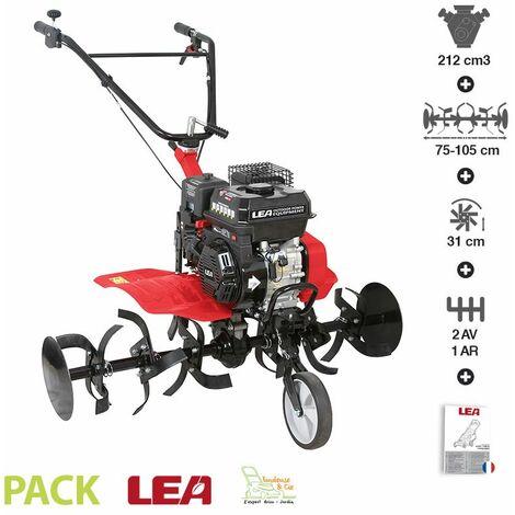 Motobineuse thermique 5,6cv 212cc euro 5 2 vitesses AV 1 AR largeur travail 105cm LEA LE4212-105DW - Rouge