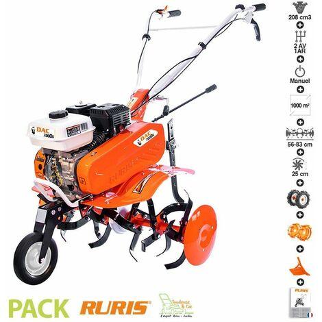 Motobineuse thermique 7 Cv 6 fraises vitesses 2AV -1AR roues agraires et métalliques butteur réglable Ruris DAC 7000