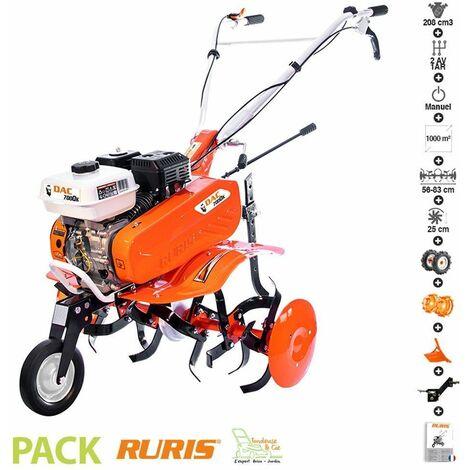Motobineuse thermique 7 Cv 6 fraises vitesses 2AV -1AR roues agraires et métalliques charrue Ruris DAC 7000K