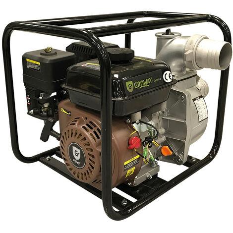 Motobomba de caudal motor gasolina de 196cc 6.5 HP Groway GWP-80 (filtro baño aceite)