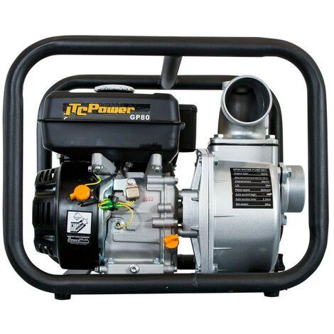 Motobomba de motor a gasolina de aguas limpias con un diámetro de 80 mm, con un caudal de60 m3/ h (1.000L/min) y una altura máxima de 30m.
