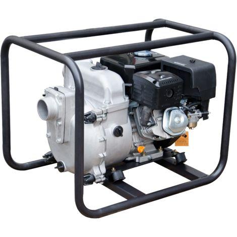 Motobomba gasolina 4 tiempos, motor IC390 OHV con un diámetro de 80mm, con un caudal78 m3/h (1.300 L/min), altura 25m. Capacidad combustible 3,6 L