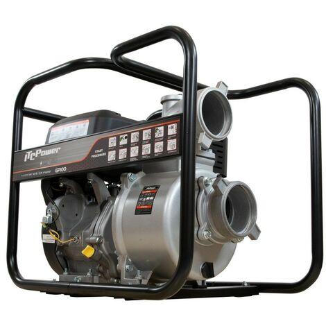 Motobomba gasolina de Aguas limpias motor IC270 OHVcon un diámetro de aspiración y expulsión de 100mm, con un caudal de0 m3/h (1000L/min), y una altura máxima de 25m, capacidad combustible 6,5 L